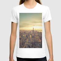 cityscape T-shirts featuring New York Skyline Cityscape by Vivienne Gucwa