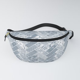 Hygge Style Textured Herringbone Pattern – Grey Fanny Pack