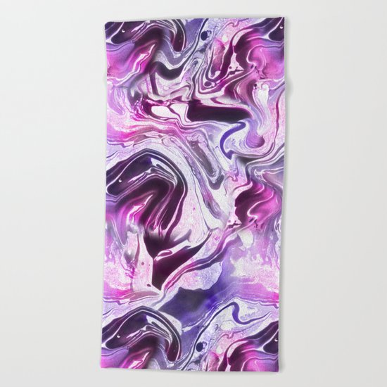 Marble Pattern Purple Pink Abstrat Beach Towel
