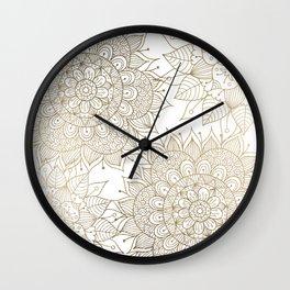 Elegant faux gold white spiritual floral mandala Wall Clock