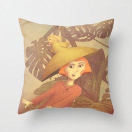 Girl running in a wilderness illustration Throw Pillow