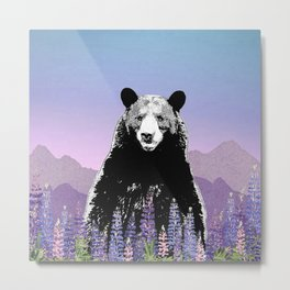Black Bear in Lupine Metal Print