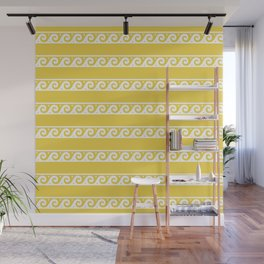 Yellow and white Greek wave ornament pattern Wall Mural
