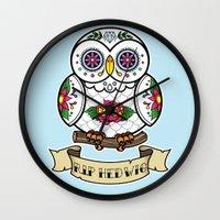 hedwig Wall Clocks featuring Hedwig Sugar Skull by Artpunk101