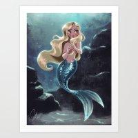 Blonde Mermaid Art Print