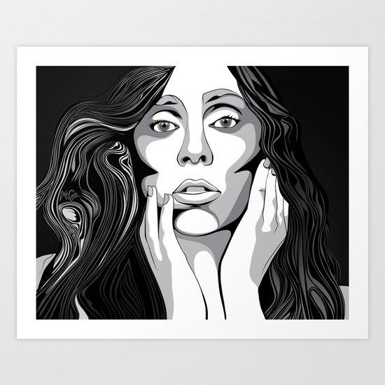 Girl Monochrome Illustration Vector 1 Art Print