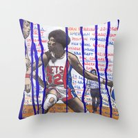 nba Throw Pillows featuring NBA PLAYERS - Julius Erving by Ibbanez
