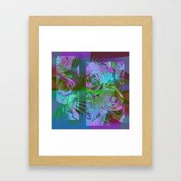 Green & Purple Roses Framed Art Print