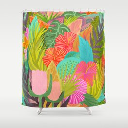 Saturated Tropical Plants and Flowers Shower Curtain