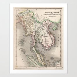 Vintage Map of The Burmese Empire (1832) Art Print