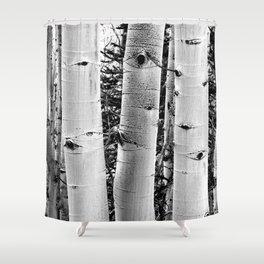 Three Aspens Black & White Shower Curtain
