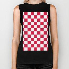 Checkered - White and Crimson Red Biker Tank