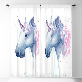Blue Pink Unicorn Blackout Curtain