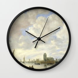 View of Dordrecht with the Grote Kirk Across the Maas, by Jan van Goyen Wall Clock
