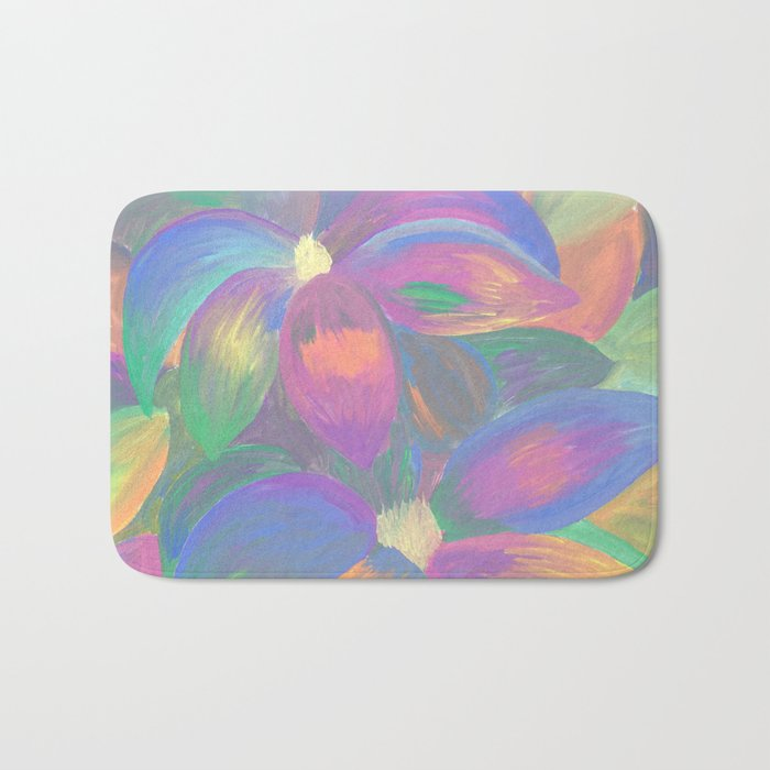 Neon Flower Pattern Bath Mat