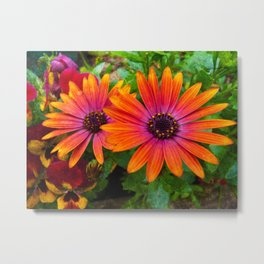Two red flowers with added texture. Metal Print
