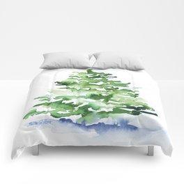 Watercolor Pine Tree Comforters