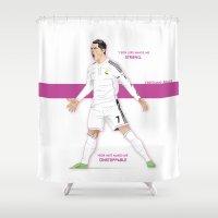 ronaldo Shower Curtains featuring Cristiano Ronaldo Illustration by Gary  Ralphs Illustrations