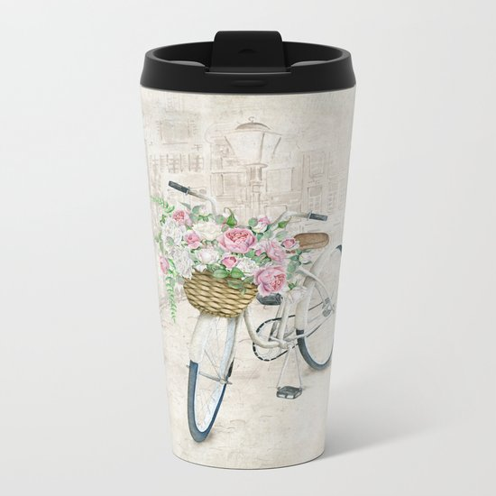 Vintage bicycles with roses basket Metal Travel Mug