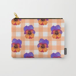 Pansy on Check Apricot Carry-All Pouch