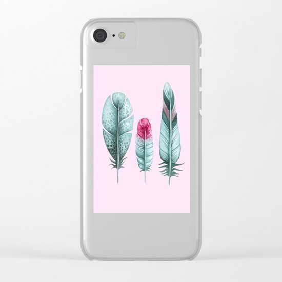 Watercolor feathers (pink) Clear iPhone Case