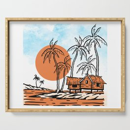 Tropical Vibes, Nature illustration landscape hut, palm trees on a cloudy blue sky, Rural summer Serving Tray