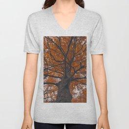 Fall tree, Autumn landscape Unisex V-Neck