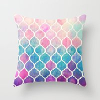 pattern Throw Pillows featuring Rainbow Pastel Watercolor Moroccan Pattern by micklyn