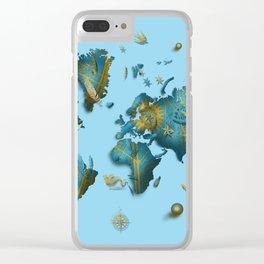 world map vintage decor blue Clear iPhone Case