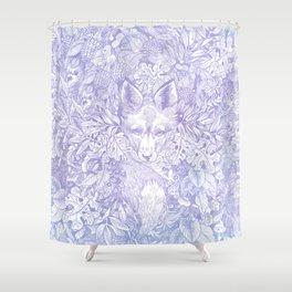 Pastel Purple Hiding Fox Drawing Shower Curtain