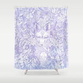 Pastel Purple Hiding Fox Drawing Shower Curtain