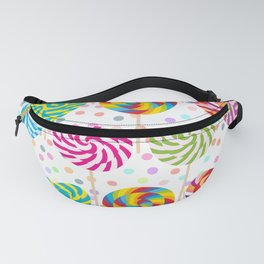 lollipops pattern, colorful spiral candy cane with twisted design Fanny Pack
