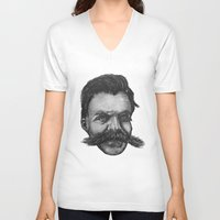 nietzsche V-neck T-shirts featuring Super Mustache by Zach Wheeler