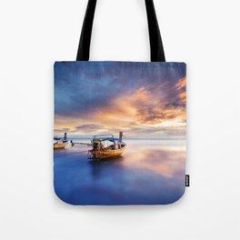 Ao nang beach at sunrise Tote Bag