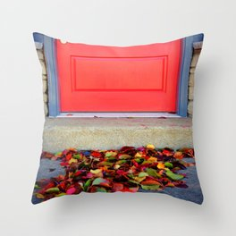 Leaves and Door Throw Pillow