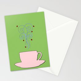 Aaah...coffee...  Vintage Fresh Shell on Moss Background Stationery Cards