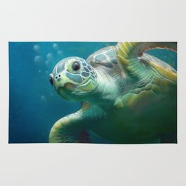 bubbles  the cute turtle Rug