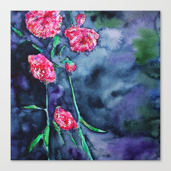 Flowers of the night    watercolor Canvas Print