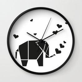 Origami Elephant - White Wall Clock