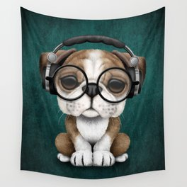 English Bulldog Puppy Dj Wearing Headphones and Glasses on Blue Wall Tapestry