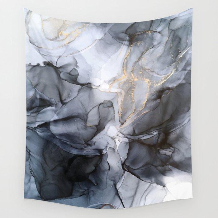 Calm but Dramatic Light Monochromatic Black & Grey Abstract Wandbehang