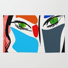 Poetic Pop Art Portrait Rug