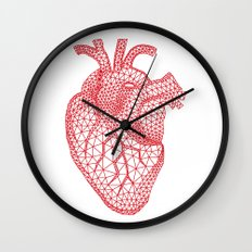 abstract red heart Wall Clock