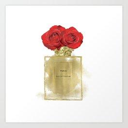 Red Roses & Fashion Perfume Bottle Art Print