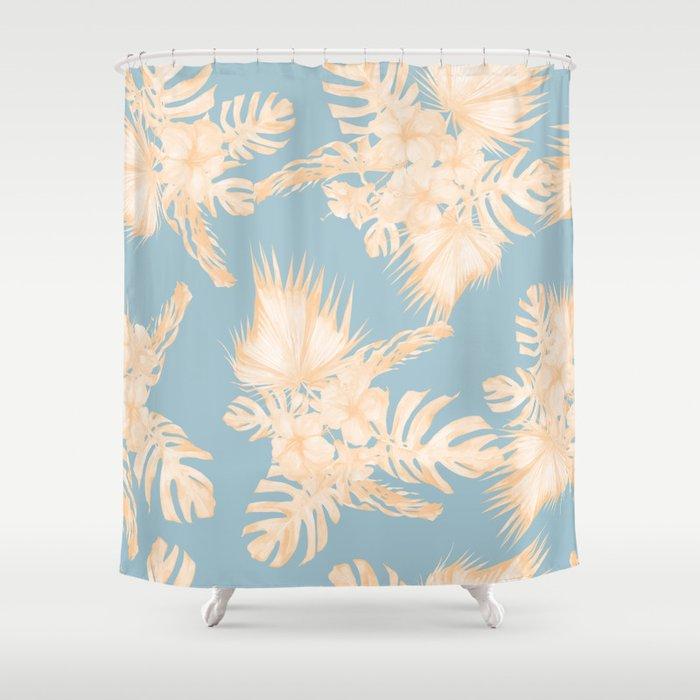 Island Vacation Hibiscus Palm Mango Sky Blue Shower Curtain