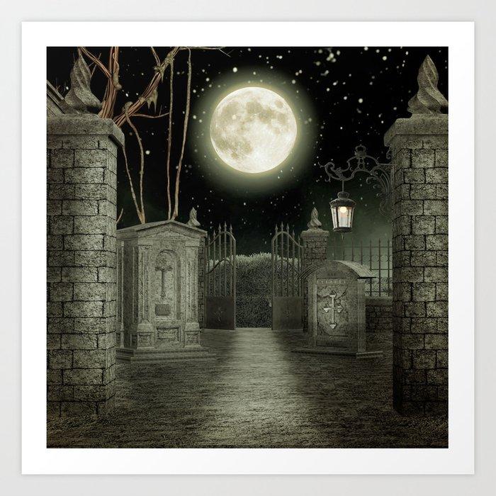 Graveyard #3 * cemetary graveyard tombstone spooky Art Print