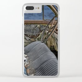 Auto Interior of Abandoned Vehicle Clear iPhone Case