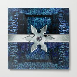 Ancient Lore Silver and Blue Metal Print