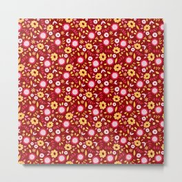 Autumn floral - red Metal Print