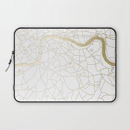 White on Yellow Gold London Street Map Laptop Sleeve